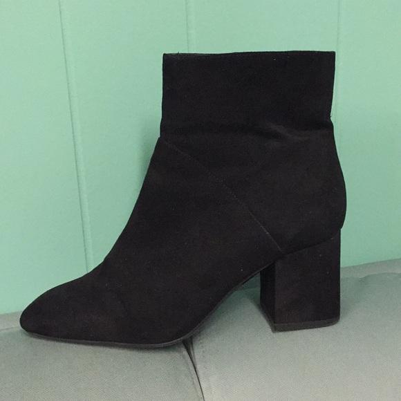 Zara Trafaluc Black Faux Suede Ankle